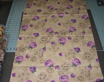 1 yd lavender purple roses Fabric Cream Background with writing Quilt Cotton Fabric Maine