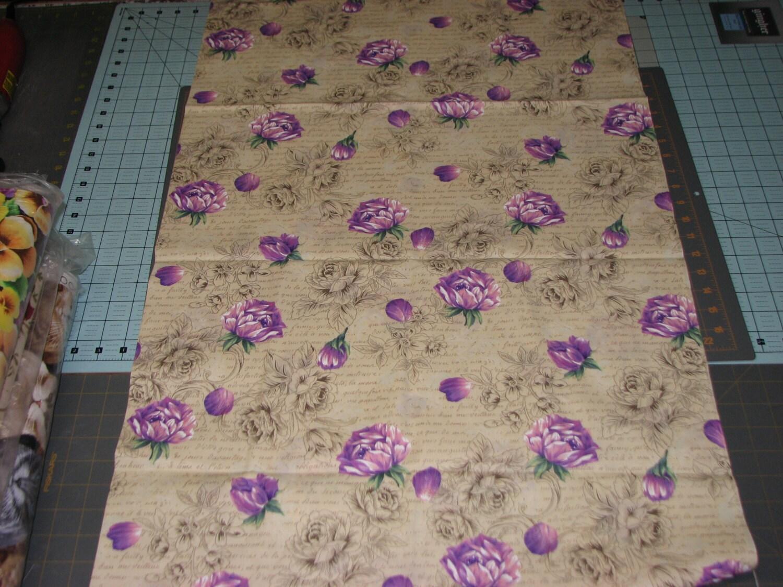 Fat Quarter Lavender Purple Roses Fabric Cream Background