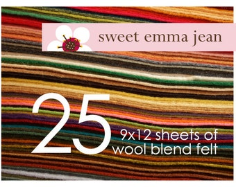 FELT - Wool Felt Sheets - Choose Any Twenty-Five (25) - Wool Blend Felt