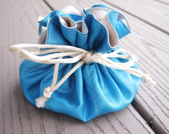 Travel Jewelry Bag, Jewelry Pouch, Jewelry Organizer, Drawstring Bag, Wedding Favor, Bridesmaids Gift, For Her, Blue Pouch, Teacher Gift