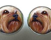 Yorkshire Terrier Earrings ~ February Birthday ~ Handpainted Yorkie ~ Pet Keepsake ~ Sweetheart Gift