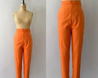 1950s Vintage Pants - 50s Orange Cotton High Rise Cigarette Pants