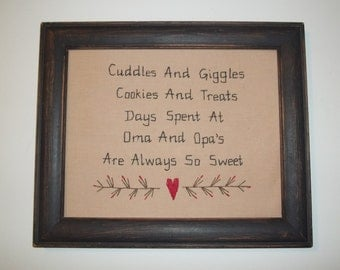 UNFRAMED Primitive Sampler Stitchery Picture New Baby Oma And Opa Present Country Home Decor Rustic Gift Idea Sampler Stitched wvluckygirl
