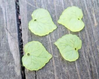 Light Yellow Lucite Leaf Charm/Pendant 20 pcs 15x15mm