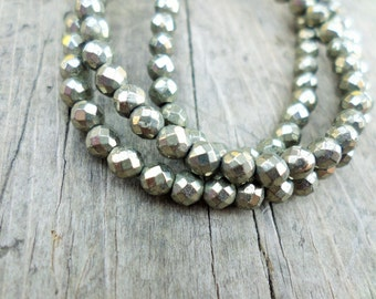Faceted Pyrite Rounds 4mm Full Strand