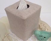 Natural flax linen reversible tissue box cover