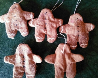 5 Grungy Little Flat Gingerbread Man Ornies Primitive Gathering Shelf Sitter Americana Lot