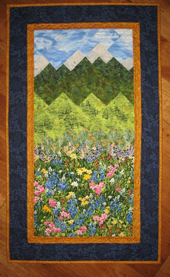 Summer Flowers And Mountains Art Quilt Fabric Wall Hanging