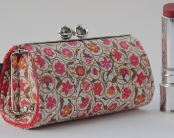 Lipstick Case/ Lipbalm case/ silver metal frame/ Liberty cotton/small flowers/pink red orange