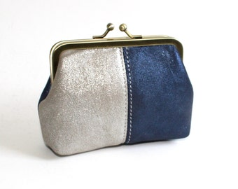 Leather Coin Purse, Medium Coin Purse in Metallic Navy and Silver