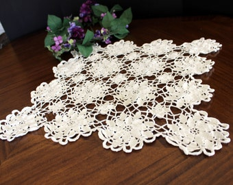 DAMAGED Large Openworked Doily, Crochet Centerpiece, White Crocheted Vintage Table Linens 13698