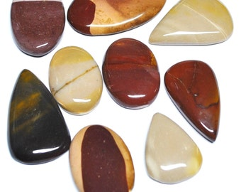 Natural Mookaite Jasper Tear Drop/Oval Cabochons - 9 pcs Parcel - 30.6-48.7 mm - 444.0 ct - 160104-14