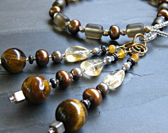 Cultured Smokey Taupe Sea Glass, Citrine, Tiger Eye, Pearl & Brown Opal