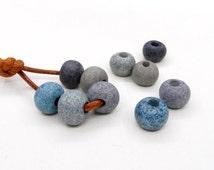 Round Ceramic Beads, Unglazed Matte Balls, Greek Ceramic Beads, Grey Blue Shades Ceramic Balls 10x14mm, Ø 3.5mm - Set of 5 pcs