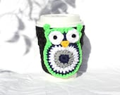 Owl  Slip On Coffee Mug Cup Travel Mug Crochet Cozy Seattle Seahawk Colors