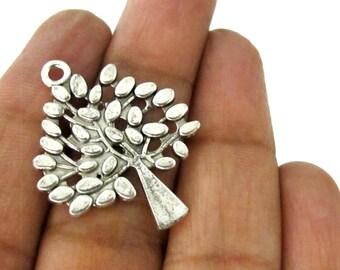 5 charm pendants - Antiqued silver tone Tree pendant supplies 29 mm x 23 mm - CM188