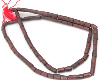 80 wooden beads full strand - Tibetan burgandy wine color wooden beads from Nepal 6-7 mm long -NB149s