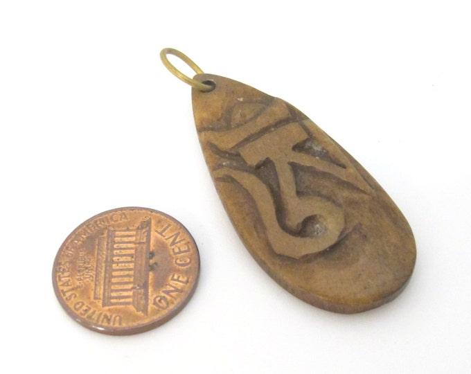 1 pendant - Tibetan pendant triangular drop shape carved Om bone pendant - PB099