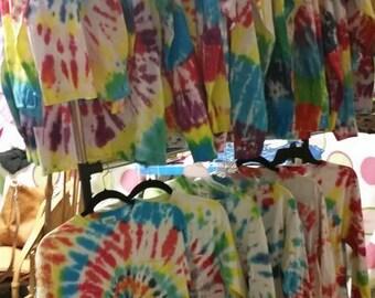 Long Sleeve Monogrammed Tie Dye Comfort Colors Pocket T-Shirt with Vinyl Monogram on Pocket Ladies