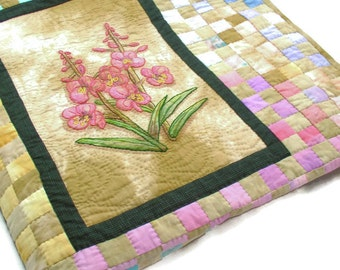 Hand painted, Hand quilted, Hand embroidered throw with flowers from Alaska
