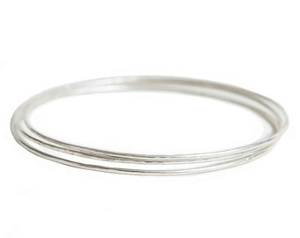 Silver Bangles - set of three