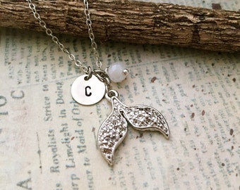 Mermaid Tail Necklace, Initial Necklace, Hand stamped Necklace, Best friend Gift, Handmade Jewelry, Bridesmaid Gift