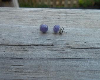 Purple Lucite Stud Earrings 10mm