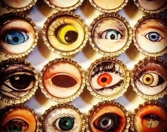 SPECIAL-Lot of 10 Eyeball Bottle Cap Magnets