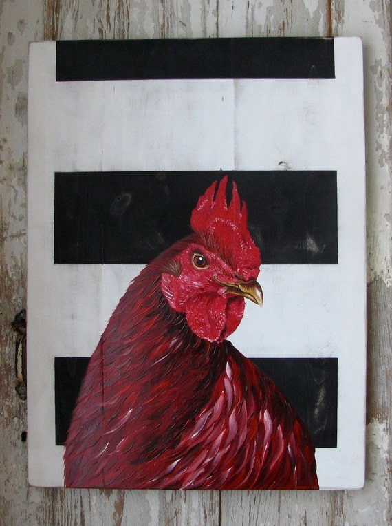 Big Red original acrylic painting on repurposed wood