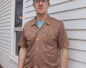 Vintage 70s Mens Disco Print Shirt Casual Leader California Light Brown Polyester Button Down L