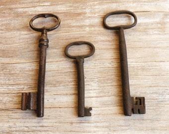 huge french antique keys - large rare keys - genuine old gate keys - 3 iron keys - wedding gift (M-5).