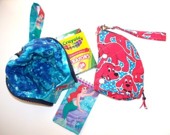 Children's Crayon Quilted Bag Set,24 Crayola Crayons,Fabric Covered Notebook, Wriststrap,Choice:Disney Mermaid Ariel or Clifford Big Red Dog