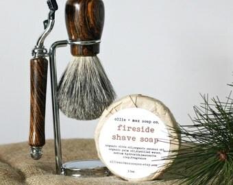 Men's Razor & Brush Set // Grooming Set // Hand Turned Bocote Wood