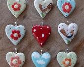 Red Polka Pendant - Christmas Heart Pendant