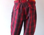 "Vintage Men's Red plaid Woolrich Hunting /Ski Pants - 1950s Winter Woolen w/ Laced Ankles - sz 34 - 36"" Waist - Suspender Buttons - Mod Prep"