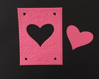 New Embossed Cardfronts with Cutout  - Heart Frame - Love - Valentine -  Set of 5