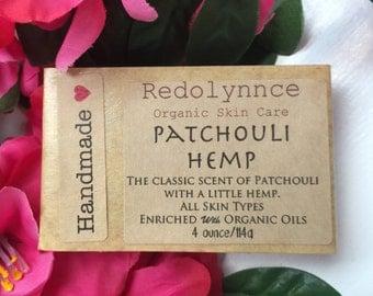 Patchouli Hemp--Organic Vegan Soap Bar made with Essential Oils. GMO free.