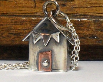 The Original Sterling Silver Beach Hut with Bunting