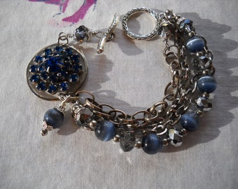 Upcycled Vintage Bracelet Blue Rhinestone Pin Cats Eye Silver Crystal Beads FREE SHIPPING