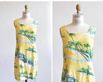 30% OFF STOREWIDE / Vintage 1990s HAWAII print rayon shift dress