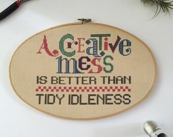 "Vintage Handmade ""Creative Mess"" Oval Cross Stitch in Hoop Sign, Wall Hanging, Home Decor Art"