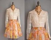 vintage 1960s dress / 60s chiffon floral dress / 60s dress