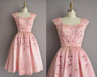 50s pink satin sequin full skirt vintage party dress / vintage 1950s dress