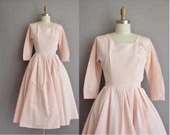 50s pink grosgrain pearl bow vintage dress / vintage 1950s dress