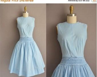 25% off SHOP SALE... 50 blue cotton full skirt vintage dress / vintage 1950s dress