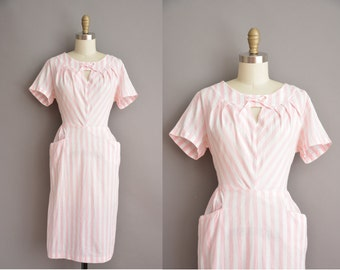 50s pink and white bold stripe cototn vintage dress / vintage 1950s dress