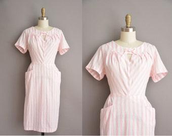 50s pink and white bold stripe cototn vintage dress / vintage 1950s dress