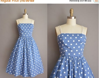 Anniversary SHOP SALE... 50s inspired blue cotton white polka dot vintage dress / vintage 1950s dress
