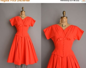 Anniversary SHOP SALE... 50s tomato red cotton full skirt vintage dress / vintage 1950s dress