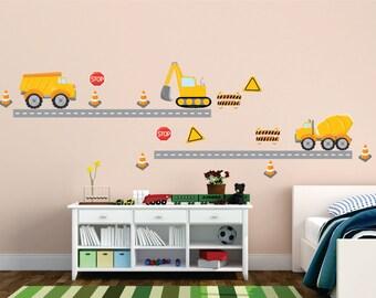 Construction Trucks Reusable Fabric Decal Set, Kids Fabric Wall Decals, Construction Trucks, Removable, Reusable, Trucks and Roads